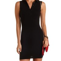 Stretch Cotton Bodycon Polo Dress by Charlotte Russe - Black