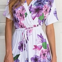 White and Purple Floral Romper