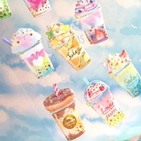iced drink sticker colorful drink coffee fruit juice sweet drink caramel chocolate dessert epoxy sticker summer drink planner label icon