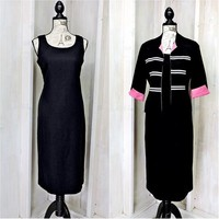 Black linen dress size 7 / 8  / linen  dress and jacket / 2 piece secretary /  career dress suit