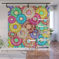 Donuts Punchy Pastel flavours Pattern Wall Mural by bluedarkatlem