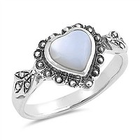 Mother of Pearl Heart Sterling Silver Ring