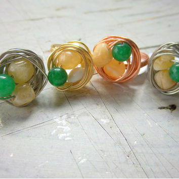 Wire Wrapped Gemstone Nest Rings