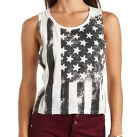 American Flag Graphic Muscle Tee by Charlotte Russe - Ivory Combo