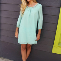 Downtown Sage Quarter Sleeve Chiffon Cut Out Neck Shift Dress