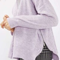 PETITE Zip Side Crew Neck Knitted Jumper