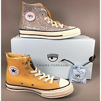 CONVERSE X CHIARA FERRAGNI stitching contrast high-top canvas shoes