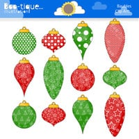 Christmas Baubles Clipart. Christmas Tree Decorations Clip Art for Instant Download. Xmas clip art. Christmas Clipart. Traditional Christmas