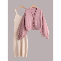 Bishop Sleeve Button Through Cardigan & Cami Sweater Dress