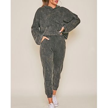 Mineral Washed Lounge Wear Set in Black