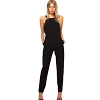 New 2017 summer sexy women Jumpsuit Romper lady Sleeveless bodysuit playsuit womens Black Trousers long pants in womens clothes