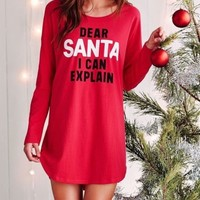 Victorias Secret DEAR SANTA I CAN EXPLAIN Cotton Sleep Shirt Nite Christmas VS