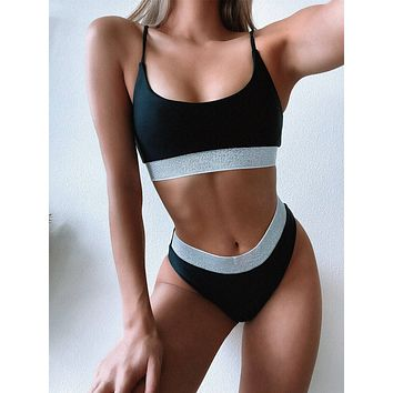 Glitter Trim High Waisted Bikini Swimsuit