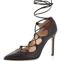 Rogustta Lace-Up Leather Pump, Black - Manolo Blahnik