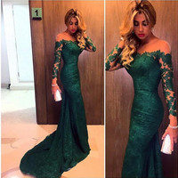 2016 Dark Green Evening Dresses Long Sleeve Custom Made Vestido Mermaid Prom Dress Gown For Women Formal Party Robe De Soiree