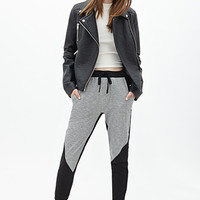 FOREVER 21 Colorblocked Joggers Heather Grey/Black