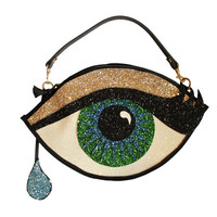 Green Glitter Eye Clutch Handbag with Teardrop