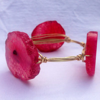 Bright Pink Agate Wire Wrapped Bracelet