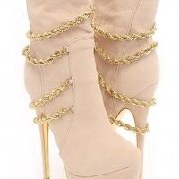 Nude Gold Faux Suede Chain Draped Boots