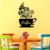 Cup Wall Decal Vinyl Sticker Decals Coffee Cup Vinyl Decal Cafe Pattern Heart Kitchen Decor Dining Room Interior Murals Window Decal AN743