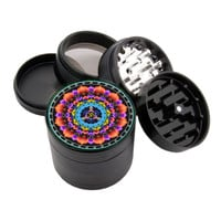 "Om Design - 2.25"" Premium Black Herb Grinder - Custom Designed"