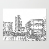 Clarence Dock Leeds Drawing Stretched Canvas by Karl Wilson Photography