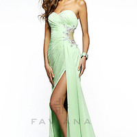 Long Strapless Dress with Sheer Side Panel