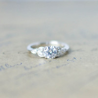 Silver Art Deco Engagement Ring - Vintage Wedding Ring - Antique Ring - Cubic Zirconia Ring - CZ Solitaire Ring - Round Cut Ring