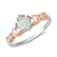 Sterling Silver Heart Shaped Lab Opal Rose Gold Plated Claddagh Ring Size 8