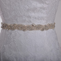Actual Image,Champagne Belt ,Stunning Beaded Crystal Bridal Belt ,Wedding Accessories,Wedding Sash
