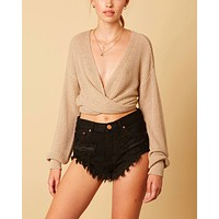 Cotton Candy LA - Bishop Sleeves Dropped Shoulder Wrap Cropped Sweater in Stone