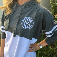 Spirit Shirt Grey White Hooded Hoodie Monogram Personalized  Font Shown NATURAL CIRCLE with Circle Frame in White