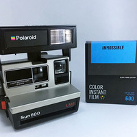 Polaroid Sun 600 LMS Camera with Impossible Project Black Frame Film