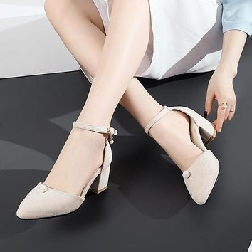 Flock Covered Toe Ankle Straps Pearl Decoration Chunky Heel Sandals 8537