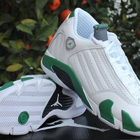 Air Jordan 14 Retro Aj14 White/green Women Sneaker Shoe Us 5.5 8.5 | Best Deal Online