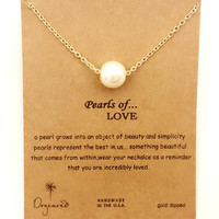 Dogeared Charm Pearl Of Love Drop Gold Plated Shorts Chains Clavicle Necklace