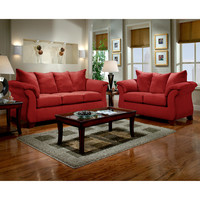 Exceptional Designs Living Room Set in Sensations Red Brick Microfiber