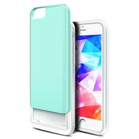 iPhone 6S Plus Case, ELOVEN 2 Layer Shockproof Sliding Cover iPhone 6 Plus Card Slot Wallet Case & Raised Lip Soft TPU Bumper Hard PC Case Protective Armor for Apple iPhone 6 6S Plus 5.5'' - Mint