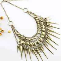 Spear Head Layered Collar Necklace