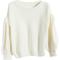 ROMWE   Off-shoulder Striped White Jumper, The Latest Street Fashion