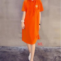 """""""Adidas"""" Fashion Casual Clover Letter Print Short Sleeve Hooded Dress"""