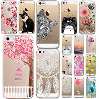 Phone Cases For Iphone 5 5s Se Soft Tpu Clear Luxury Animals Flower Fruits Girls Cat Pattern Transparent Ultra Thin Back Cover