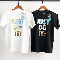 NIKE New Hot Sale Men Women Casual Personality Print Short Sleeve T-Shirt Top