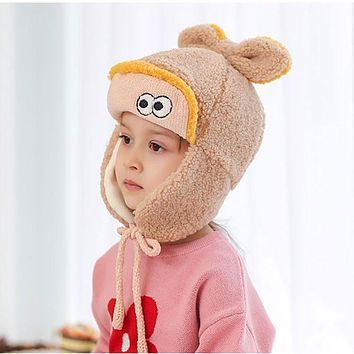 Children's Ear Caps Autumn And Winter Lamb Wool Lei Feng Hat Boys And Girls Cute Rabbit Ears Baby Warm Baby Hat