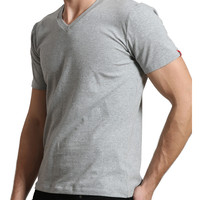 LE3NO Mens Premium Slim Fit V Neck T Shirt with Stretch (CLEARANCE)