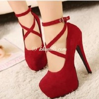 Red Sexy Platform Party High Heel Cloth Pointed Toe