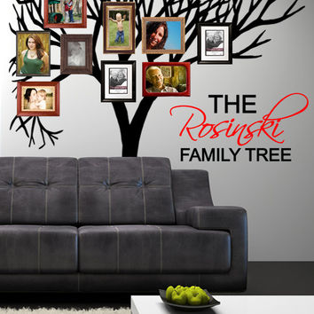 FAMILY TREE wall DECAL - Personalized Family Tree Wall decal Photo frame tree decal Wall Art Sticker