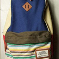 Folk Style Strip Print Canvas Backpack-Blue from styleonline