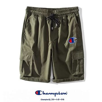 Champion Fashion Summer New  Embroidery Logo Sports Leisure Women Men Shorts Army Green