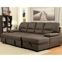 Furniture of America Delton Contemporary Faux Nubuck Sleeper Sectional - Walmart.com